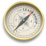 Compass pointing to the word leadership
